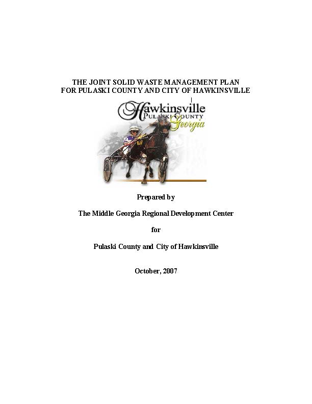 Hawkinsville Pulaski Solid Waste Management Report Image